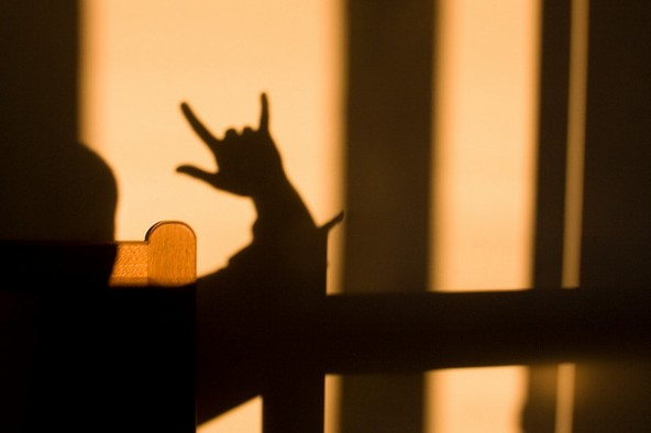 """""""I love you,"""" in American Sign Language.(Photo: Bert Heymans (Flickr))"""
