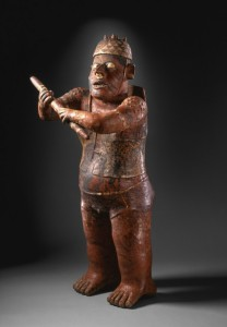Standing Warrior Mexico, Jalisco, 200 B.C. - A.D. 300 Sculpture Slip-painted ceramic, El Arenal Brown style 37 1/2 × 16 × 17 in. (95.25 × 40.64 × 43.18 cm) The Proctor Stafford Collection, purchased with funds provided by Mr. and Mrs. Allan C. Balch (M.86.296.86)